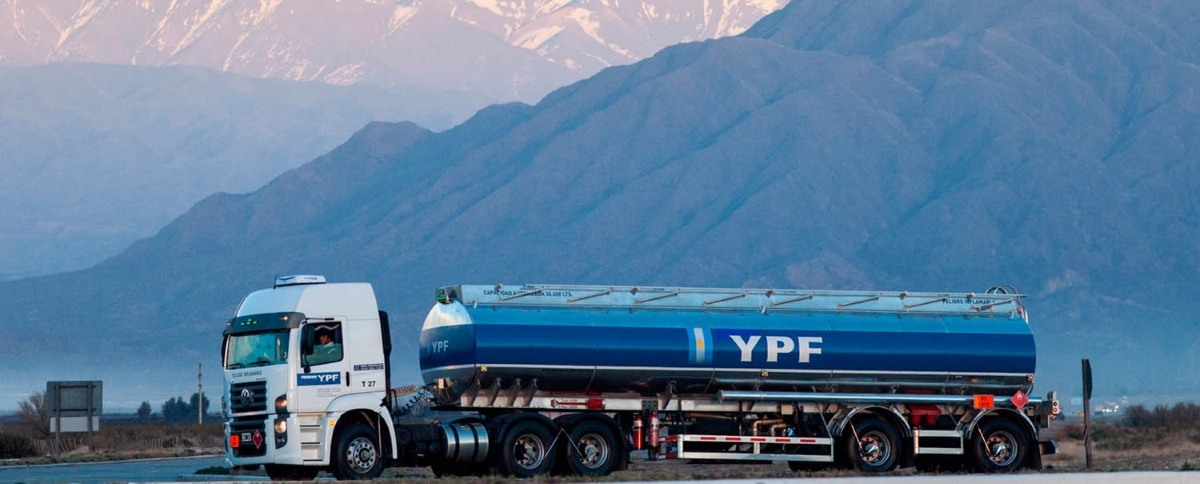 YPF oil tanker truck in front of mountains in Argentina