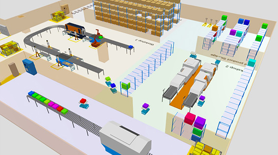 Material handling and manufacturing simulation software