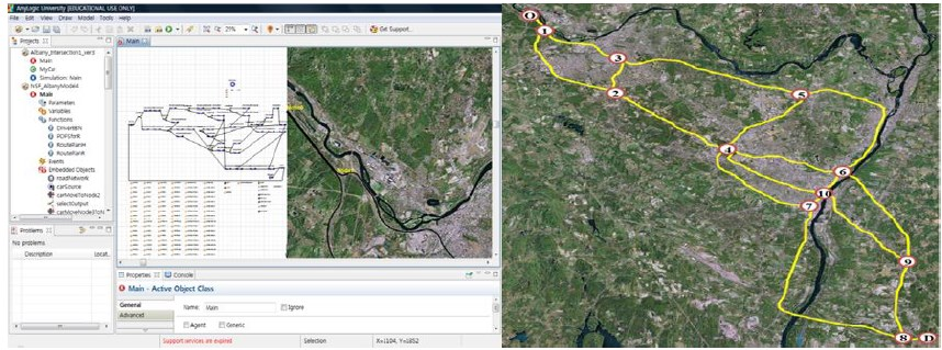 Hazardous material transportation simulation GIS map screenshot